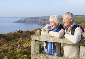 Image of an elderly retired couple enjoying nature